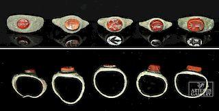 Lot of 5 Roman Bronze Rings w/ Carnelian Intaglios