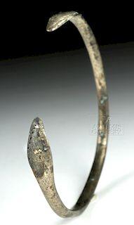 Graeco-Roman Silver Bracelet w/ Flared Termini, 17.6 g
