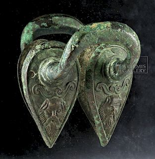 Pair of Etruscan Bronze Stamnos Handles, Ex-Christie's
