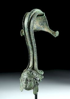 Roman Bronze Vessel Handle w/ Maskette