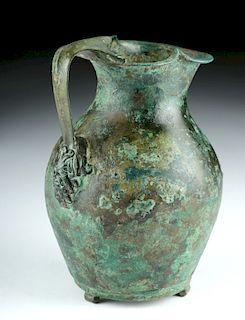 Roman Bronze Oinochoe w/ Satyr Handle
