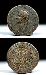 Rare Roman Empire AE Bronze Sestertius - Caligula