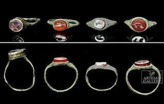 Lot of 4 Roman Bronze & Silver Carnelian Intaglio Rings