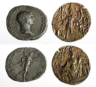 Lot of 2 Ancient Coins - Indian Gold & Roman Silver