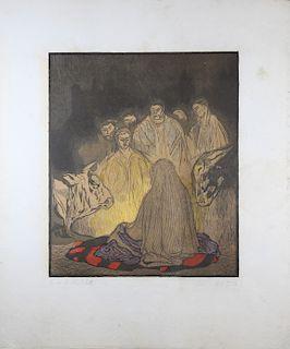 Attr. Emil Nolde, Color Woodcut Nativity Scene