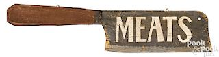 Painted pine butcher meat cleaver trade sign