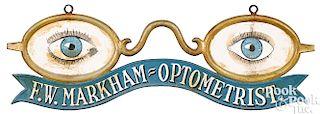 Zinc and tin F. W. Markham Optometrist trade sign