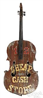 Painted tin stand-up bass trade sign