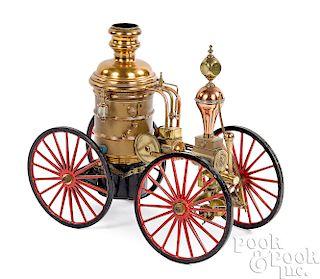 Brass and copper fire pumper model