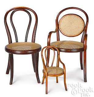 Pair of child's bentwood Thonet chairs