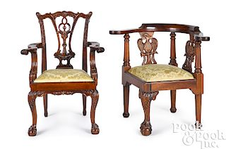 Two child's Chippendale chairs