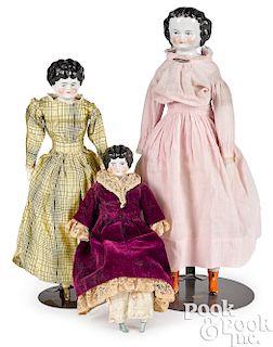 Three molded hair china head dolls