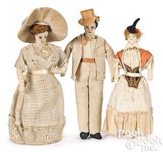 Three hand-made folk art cloth dollhouse dolls