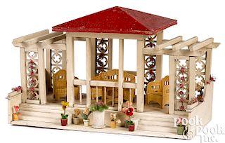 Elaborate German painted wood dollhouse gazebo