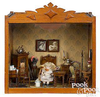 Folk art doll's miniature bedroom room box