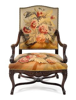 A Louis XV Style Fauteuil Height 45 1/4 inches.