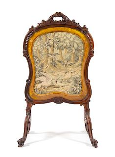A Louis XV Style Rosewood Fire Screen Height 43 1/2 inches.