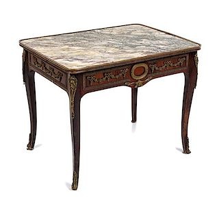 * A Louis XV Style Gilt Bronze Mounted Side Table Height 21 1/2 x width 27 x depth 20 1/2 inches.