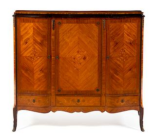 * A Louis XV Style Marquetry Decorated Armoire Height 50 1/2 x width 61 x depth 18 inches.