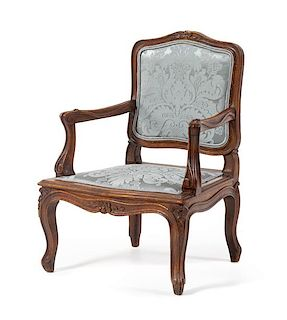 A Louis XV Style Child's Fauteuil Height 23 1/2 inches.