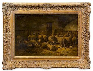 Charles-Emile Jacque, (French, 1813-1894), Sheep in a Barn