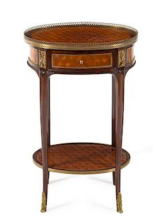 A Louis XV/XVI Transitional Style Gilt Metal Mounted Parquetry Side Table Height 27 3/4 x width 17 1/2 x depth 13 inches.