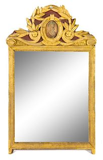 A Louis XVI Style Giltwood Mirror Height 36 1/2 x width 32 1/4 inches.