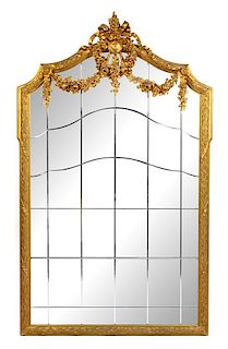 A Louis XVI Style Giltwood Mirror Height 79 x width 47 1/4 inches.