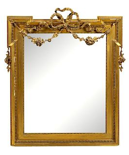 A Louis XVI Style Giltwood Mirror Height 35 3/8 x width 29 5/8 inches.