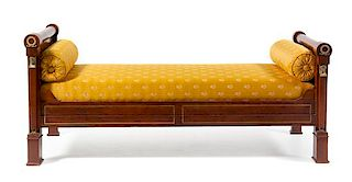 An Empire Style Gilt Metal Mounted Day Bed Width 73 inches.