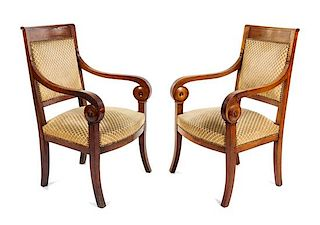 A Pair of Louis Philippe Style Bergeres Height 36 1/4 inches.