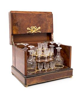 A French Gilt Metal Mounted Cave a Liqueur Height 11 x width 14 1/4 x depth 10 1/4 inches.