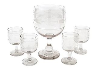 A Set of Five French Etched Glass Stems Height of tallest 8 3/4 inches.