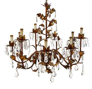 A French Gilt Decorated Tole Nine-Light Chandelier Diameter 27 1/2 inches.