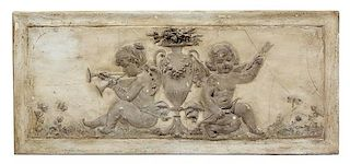 A French Terracotta Panel Height 26 1/4 x width 46 1/4 inches.