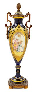 A Sevres Style Porcelain Urn Height 18 1/4 inches.
