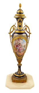 A Sevres Style Gilt Metal Mounted Porcelain Urn Height 33 1/8 inches.