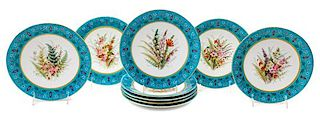 A Set of Nine French Porcelain Dinner Plates Diameter 8 7/8 inches.