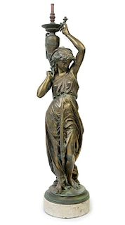A French Gilt Bronze Figure Height overall 52 1/4 inches.