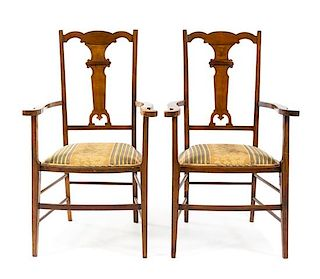 * A Pair of Italian Fruitwood Armchairs Height 40 inches.
