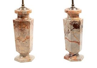 A Pair of Italian Marble Table Lamps Height overall 28 1/8 inches.