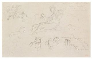 Eugène Delacroix, (French, 1798–1863), Studies for the Galerie d'Apollon after Dubois and Fréminet, c. 1850