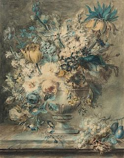 Attributed to Cornelis van Spaendonck, (Dutch, 1756-1840), Still Life: Bouquet of Flowers in a Vase on a Ledge