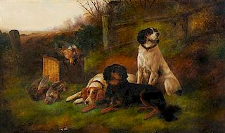 John Gifford, (British, 19th Century), Hunting Dogs at Rest with Game