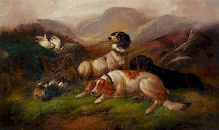 John Gifford, (British, 19th Century), Hunting Dogs in a Highland Landscape