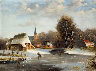 Frederik Marinus Kruseman, (Dutch, 1816-1882), Figures on a Frozen River, 1870