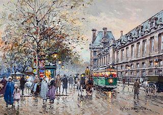 * Antoine Blanchard, (French, 1910-1988), Quai des Tuileries et le Musée du Louvre, Paris