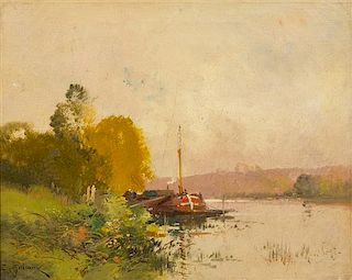 Eugène Galien-Laloue, (French, 1854-1941), Untitled (Grassy Riverbank)