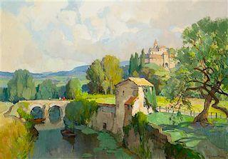 Georges Charles Robin, (French, 1903-2003), Près de Vaison-la-Romaine