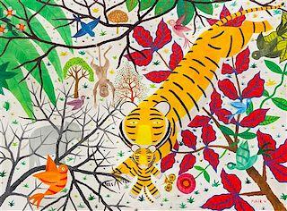 Henri Hecht Maik, (French, 1922-1993), Un Tigre avec maman, 1976